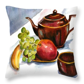 Tea And Fruit Throw Pillow