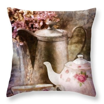 Tea And Grapes Throw Pillow by Mo T