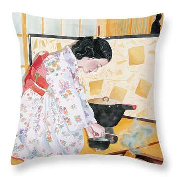 Tea Ceremony Throw Pillow by Judy Swerlick