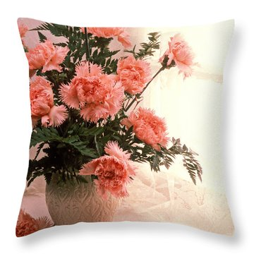 Tea Cup With Pink Carnations Throw Pillow by Garry Gay