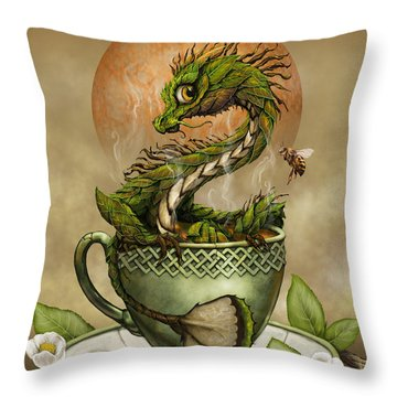 Tea Dragon Throw Pillow