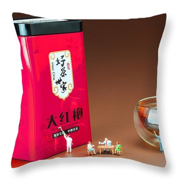 Throw Pillow featuring the photograph Tea Drinking In A Family Little People Big World by Paul Ge