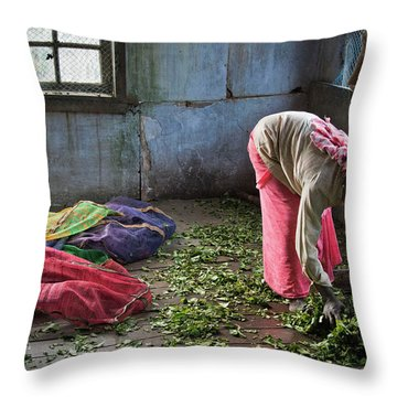 Throw Pillow featuring the photograph Tea Factory by Marion Galt