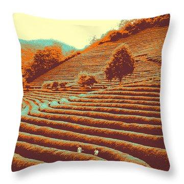 Tea Field Throw Pillow