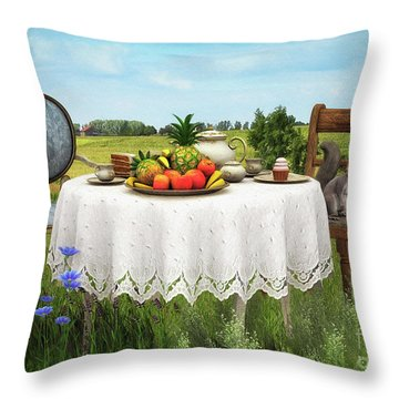 Throw Pillow featuring the digital art Tea For Two by Jutta Maria Pusl