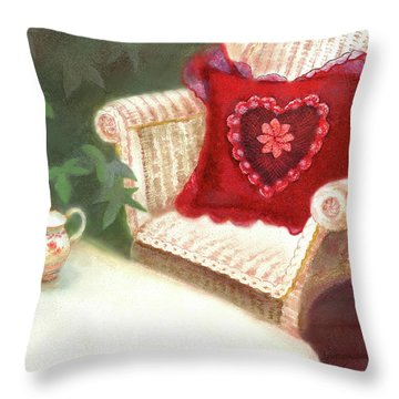 Throw Pillow featuring the painting Tea In A Victorian Cottage Garden by Nancy Lee Moran
