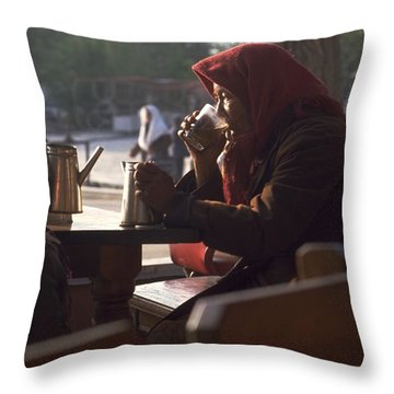 Tea In Tashkent Throw Pillow