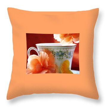 Throw Pillow featuring the photograph Tea In The Garden by Angela Davies