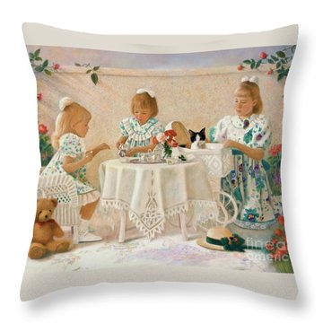 Throw Pillow featuring the pastel Tea In The Rose Garden by Nancy Lee Moran