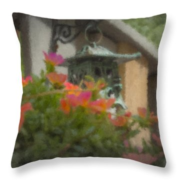 Tea Lantern And Portulaca Throw Pillow
