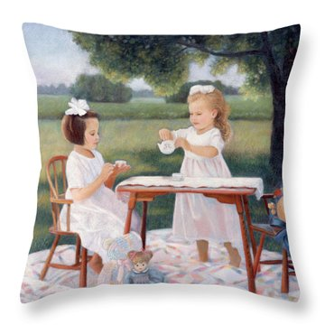 Throw Pillow featuring the pastel Tea Party by Nancy Lee Moran