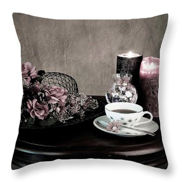 Tea Party Time Throw Pillow by Sherry Hallemeier