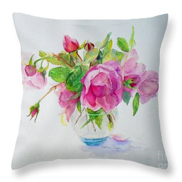 Throw Pillow featuring the painting Tea Rose by Beatrice Cloake