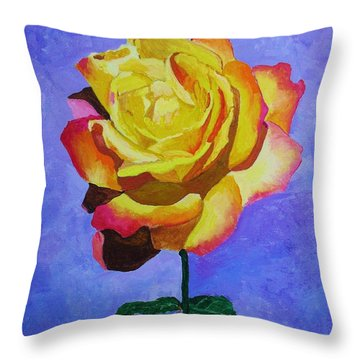 Throw Pillow featuring the painting Tea Rose by Rodney Campbell