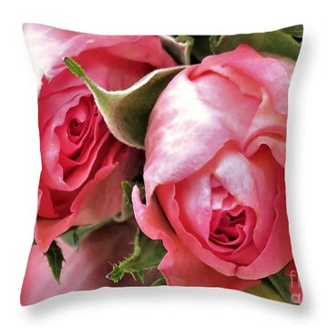 Tea Roses Throw Pillow by Janice Drew