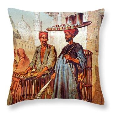 Throw Pillow featuring the photograph Tea Seller by Munir Alawi