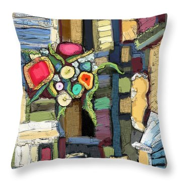 Throw Pillow featuring the painting Tea Time by Carrie Joy Byrnes