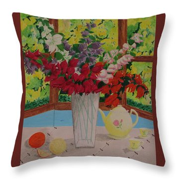 Throw Pillow featuring the painting Tea Time by Hilda and Jose Garrancho
