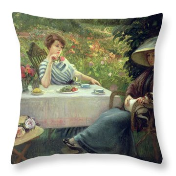Tea Time Throw Pillow by Jacques Jourdan