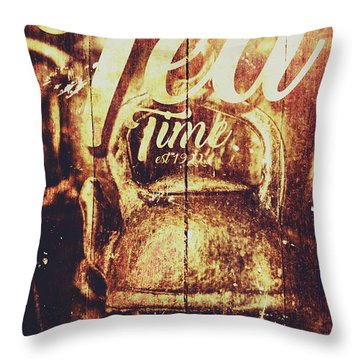 Tea Time Tin Sign Throw Pillow