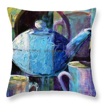 Throw Pillow featuring the photograph Tea With Friends by Priti Lathia