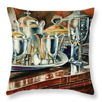 Tea With Marguerite Throw Pillow by Carolyn Coffey Wallace