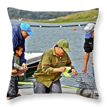Teach Him To Fish Throw Pillow
