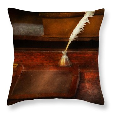 Teacher - The Writing Desk Throw Pillow by Mike Savad