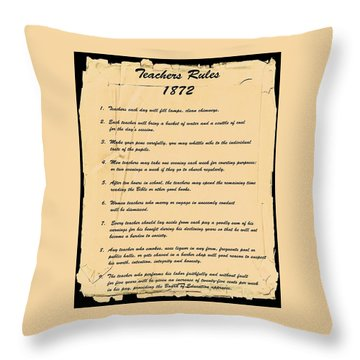 Teachers Rules 1872 Throw Pillow