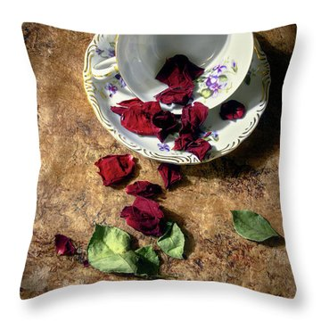 Teacup And Red Rose Petals Throw Pillow