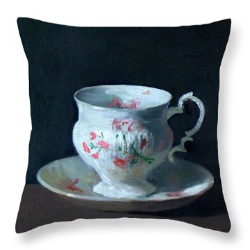 Teacup And Saucer On Dark Background Throw Pillow