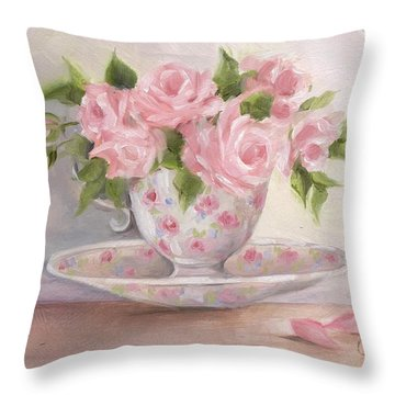 Teacup And Saucer Rose Shabby Chic Painting Throw Pillow by Chris Hobel