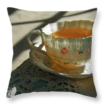 Teacup On Lace Throw Pillow