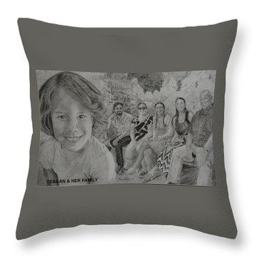 Teagan And Her Family Throw Pillow