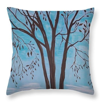Throw Pillow featuring the painting Teal And Brown by Leslie Allen