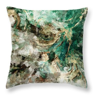 Throw Pillow featuring the painting Teal And Cream Abstract Painting by Ayse Deniz