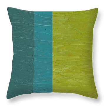 Teal And Olive  Throw Pillow by Michelle Calkins