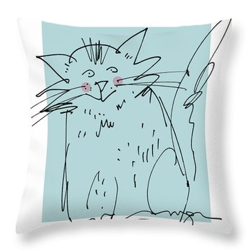 Teal Cat Throw Pillow