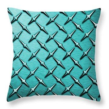 Teal Diamond Plate  Throw Pillow