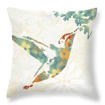 Floral Hummingbird Art Throw Pillow