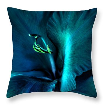 Teal Gladiola Flower Throw Pillow by Jennie Marie Schell