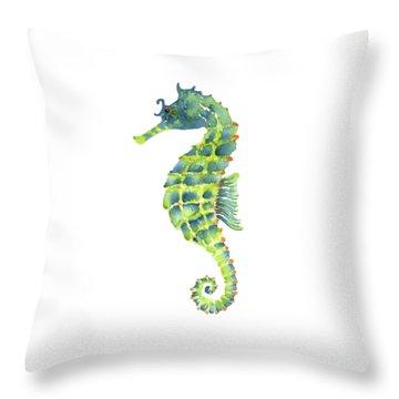 Teal Green Seahorse Throw Pillow