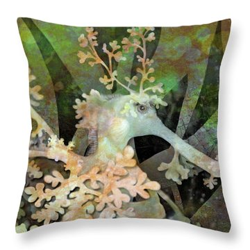 Teal Leafy Sea Dragon Throw Pillow