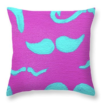Teal Mustaches Throw Pillow by Jera Sky
