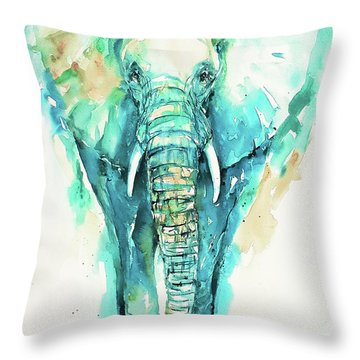 Teal N Turquoise Elephant Throw Pillow