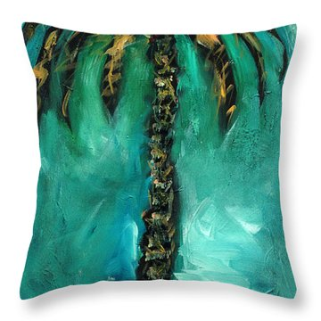 Teal Palm Throw Pillow by Linda Olsen