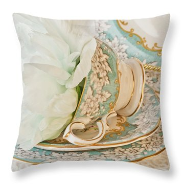 Teal Peony For Real  Throw Pillow