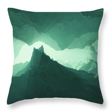Teal Surreal Throw Pillow