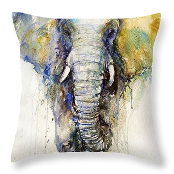 Teal Tusker Throw Pillow