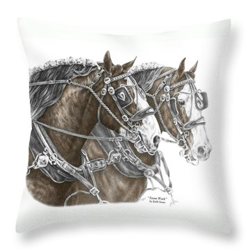 Throw Pillow featuring the drawing Team Work - Clydesdale Draft Horse Print Color Tinted by Kelli Swan